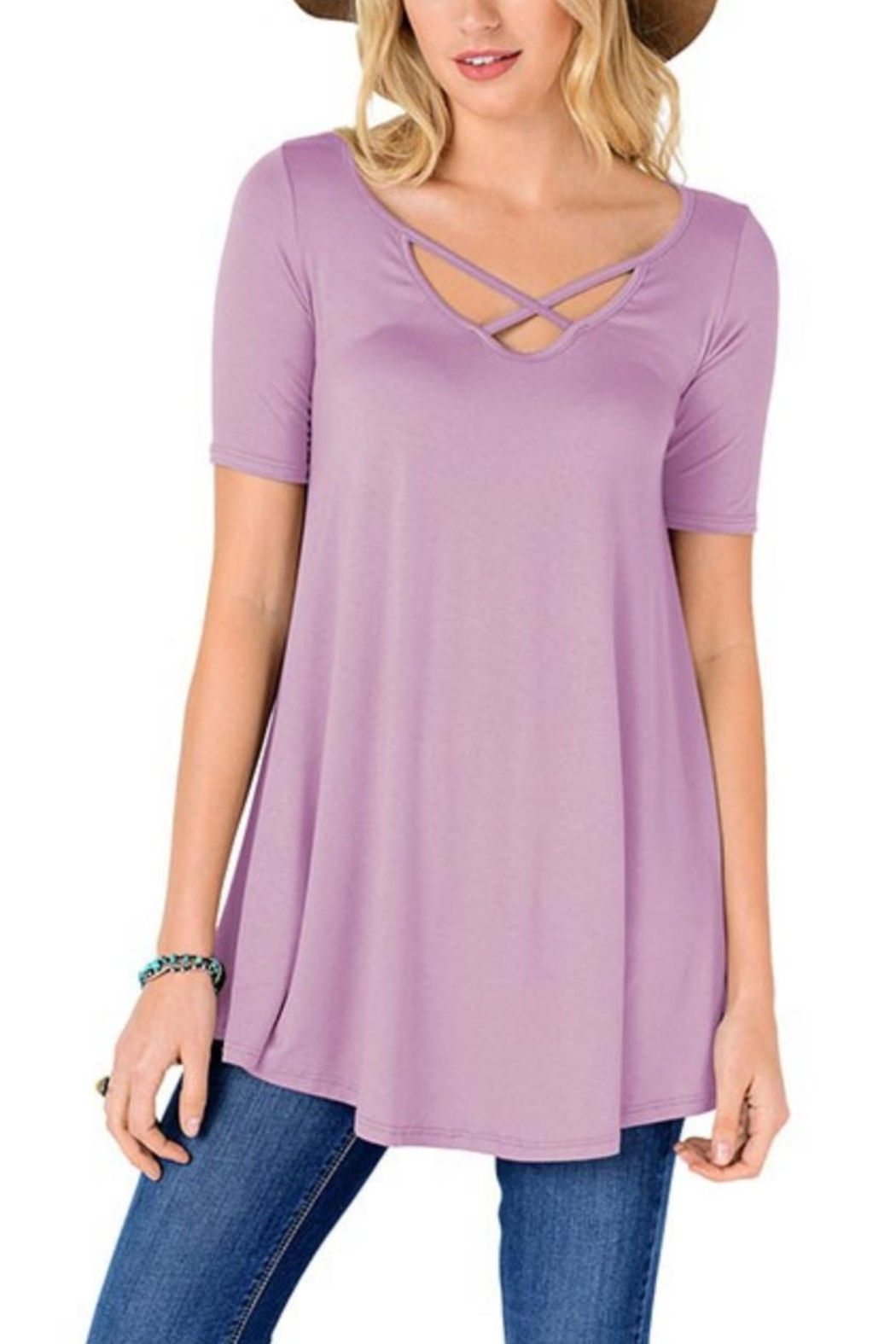 Fashion Corner Criss Cross Scoop Top - Front Cropped Image