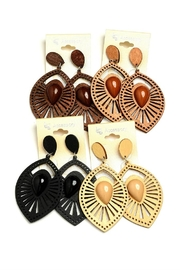 Fashion Jewelry Geo Leaf Earrings - Front cropped
