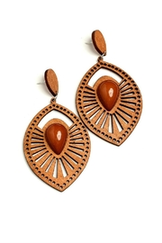 Fashion Jewelry Geo Leaf Earrings - Product Mini Image