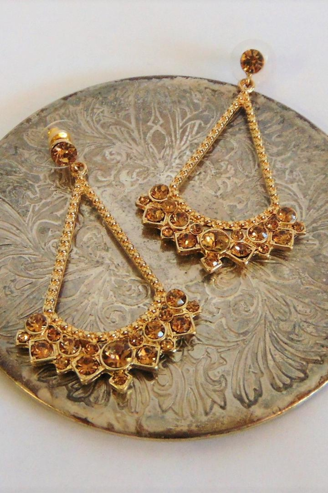 Fashion Jewelry Gold Stone Earrings - Main Image
