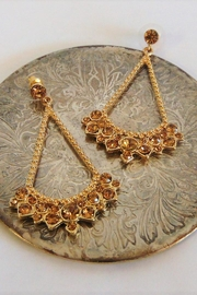 Fashion Jewelry Gold Stone Earrings - Product Mini Image
