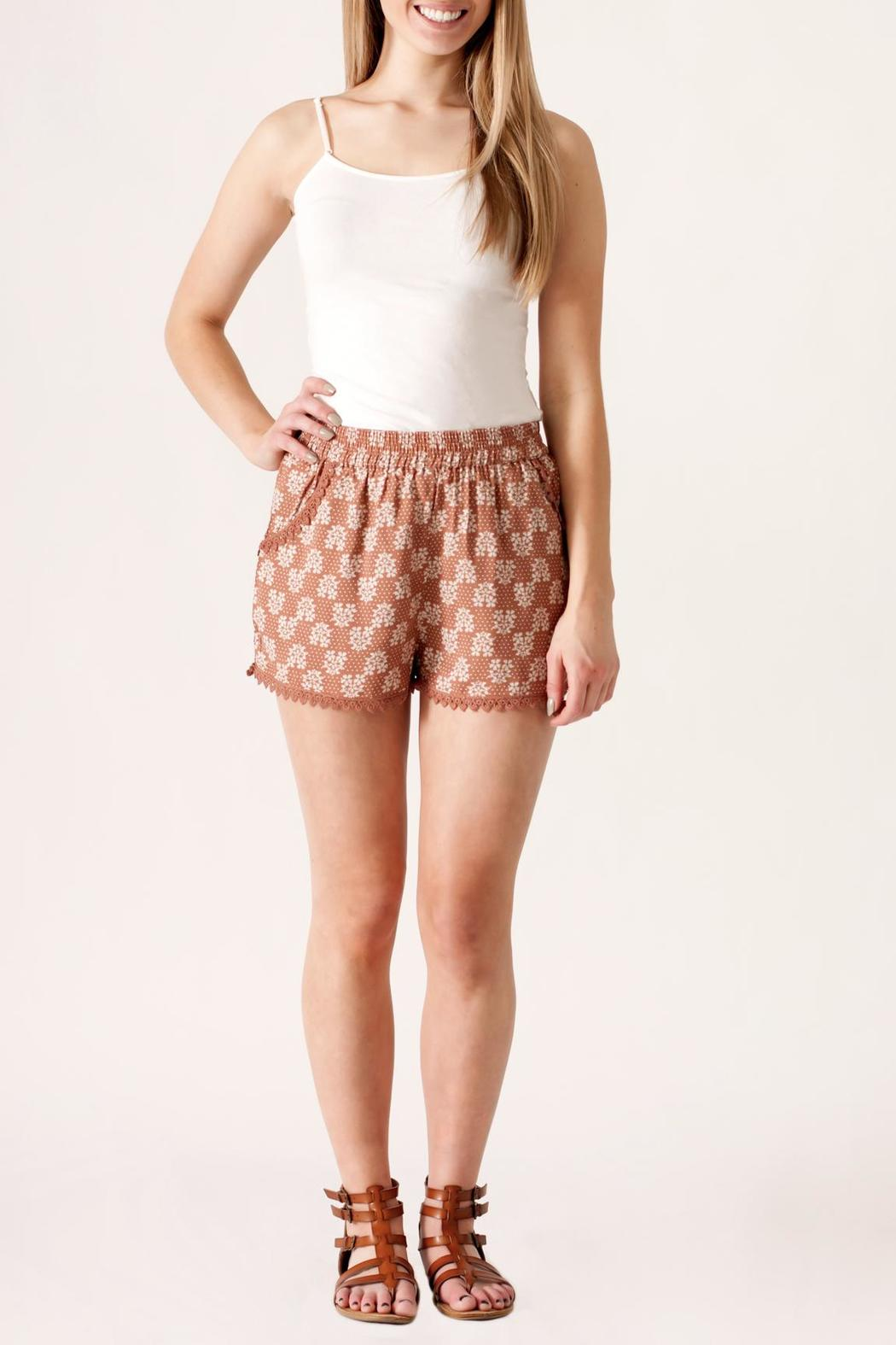 fashion on earth Crochet Trim Shorts - Front Cropped Image