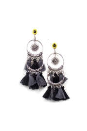 Fashion Pickle Black Tassel Earrings - Product Mini Image