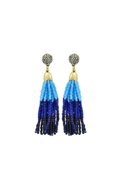 Fashion Pickle Blue Tassel Earrings - Alternate List Image