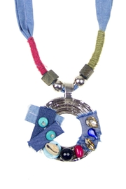 Fashion Pickle Denim Handmade Necklace - Front full body