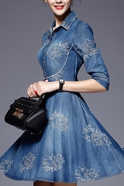 Fashion Pickle Embroidered Denim Dress - Front full body