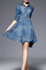 Fashion Pickle Embroidered Denim Dress - Side cropped