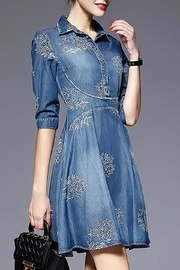 Fashion Pickle Embroidered Denim Dress - Front cropped