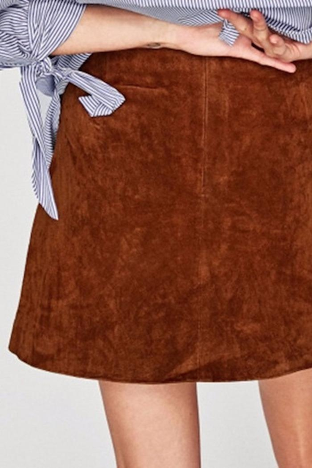 Fashion Pickle Embroidered Suede Skirt - Back Cropped Image