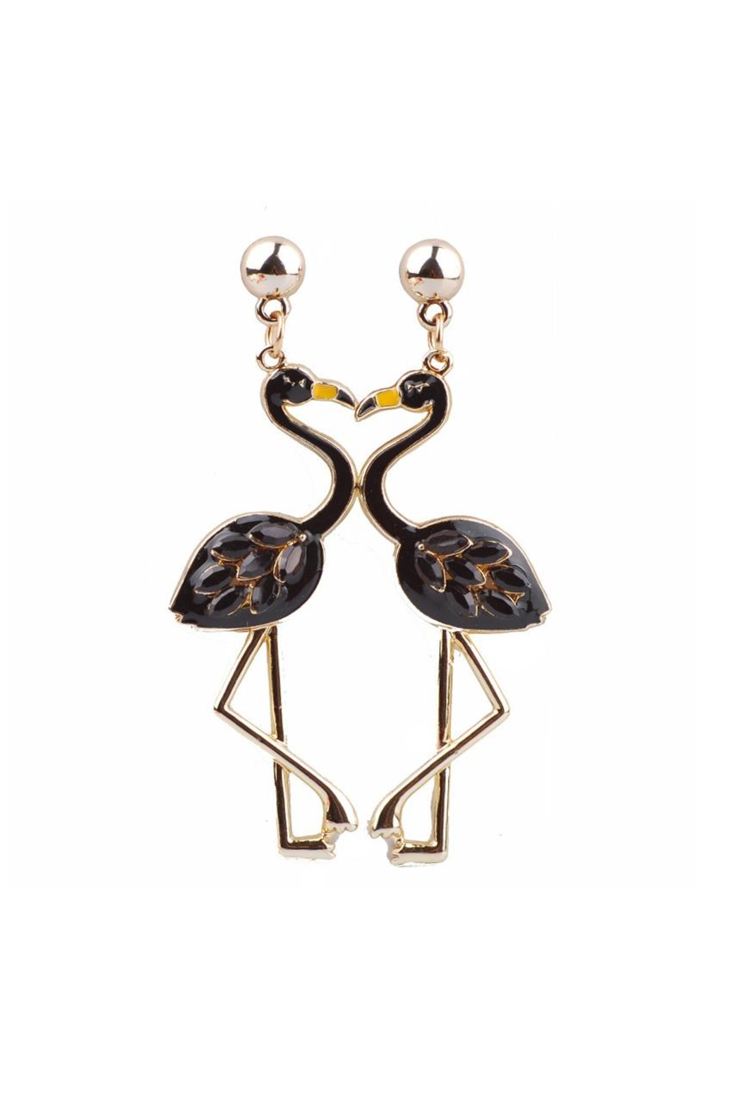 Fashion Pickle Flamingo Statement Earrings - Front Cropped Image