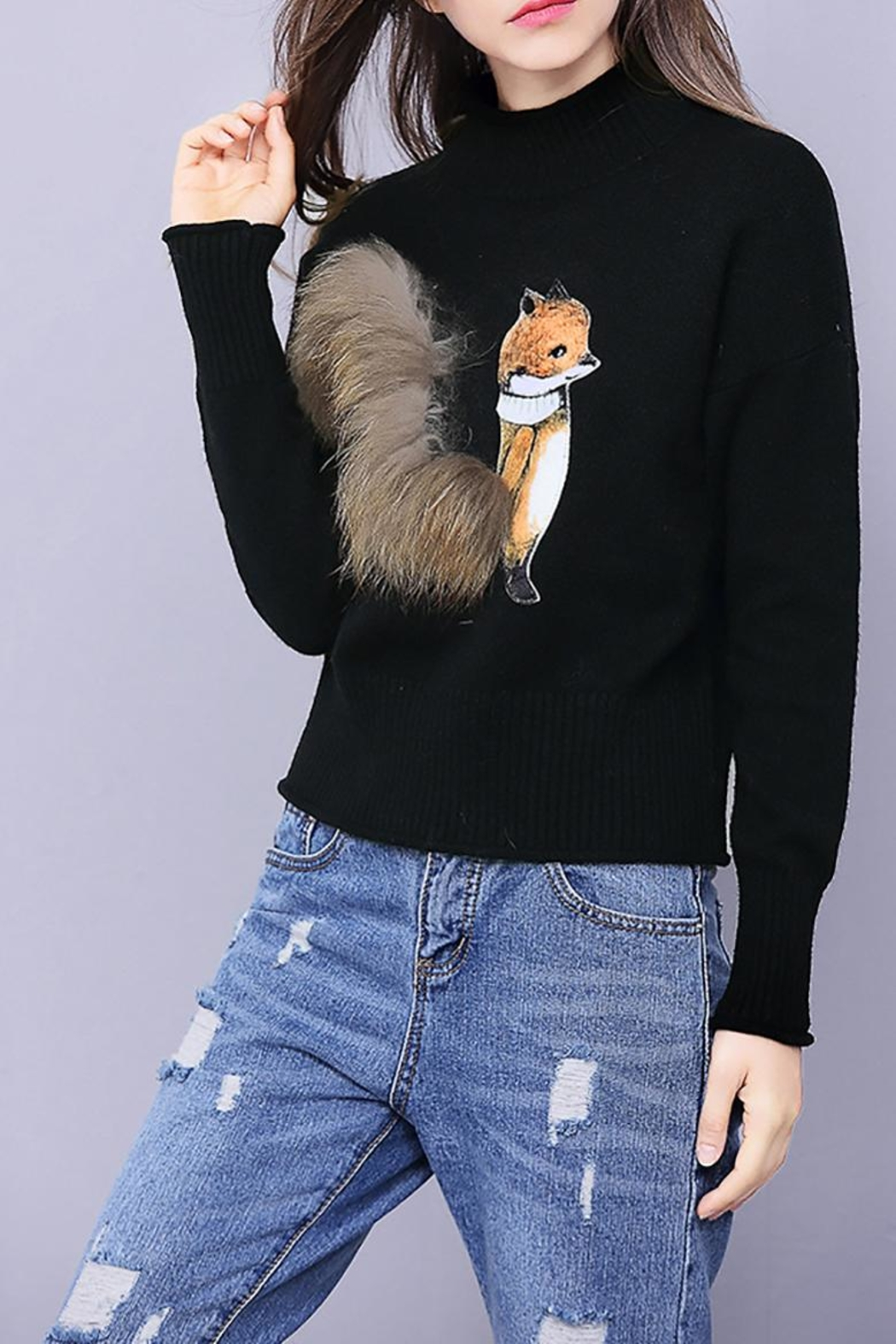 Fashion Pickle Fuzzy Fox Sweater - Front Full Image