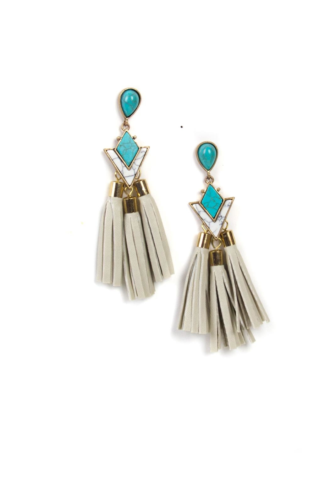 Fashion Pickle Leather Tassel Earrings  Front Cropped Image