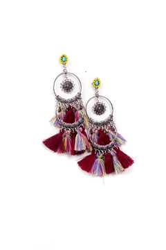 Fashion Pickle Multicolor Tassel Earrings - Alternate List Image