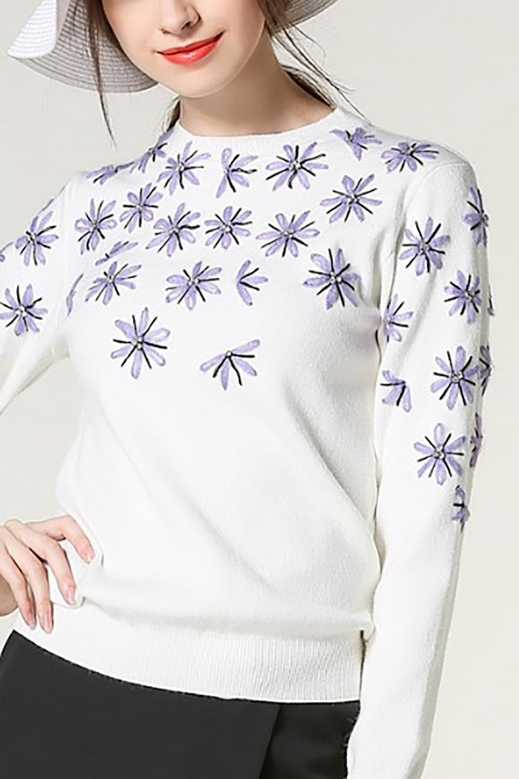 Fashion Pickle Purple Flowers Sweater - Front Full Image