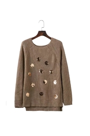Fashion Pickle Sequins Sweater Camel - Product Mini Image
