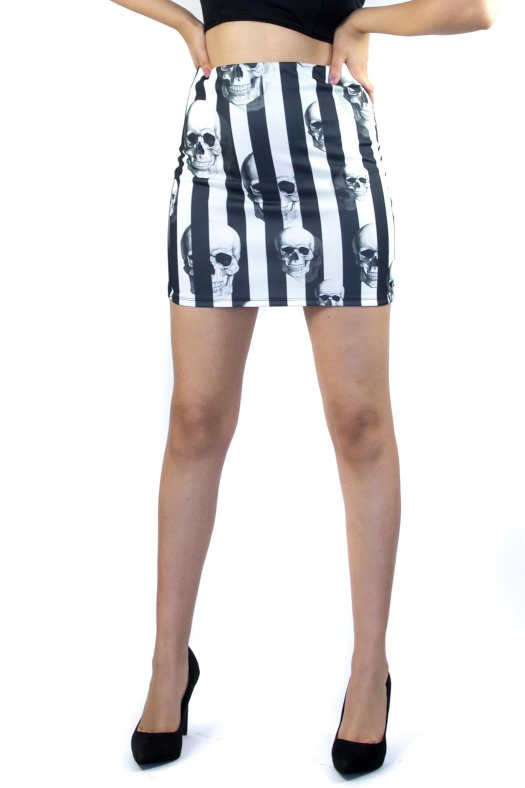 Fashion Pickle Skull Mini Skirt - Front Cropped Image
