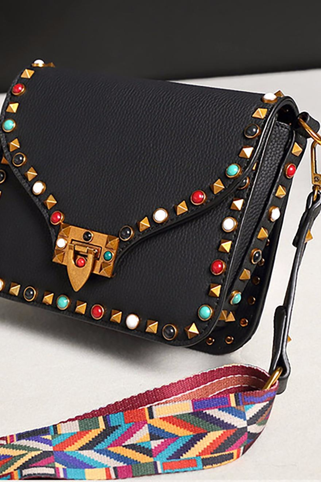 Fashion Pickle Studded Red Bag - Front Cropped Image