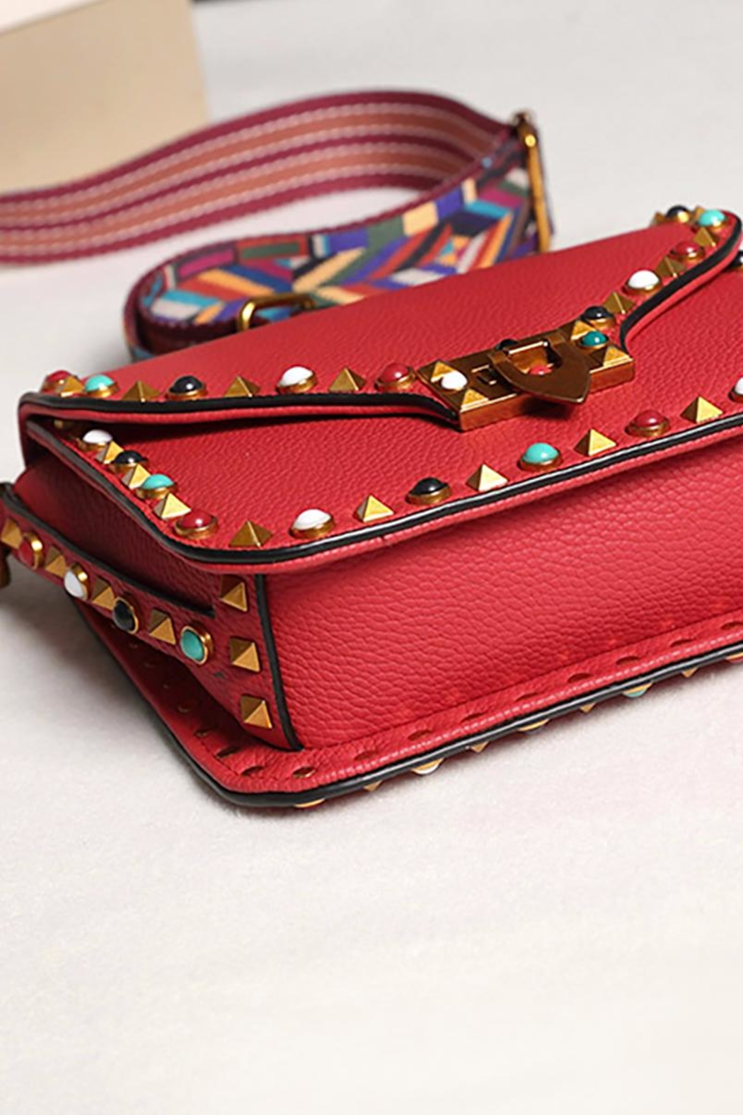 Fashion Pickle Studded Red Bag - Side Cropped Image