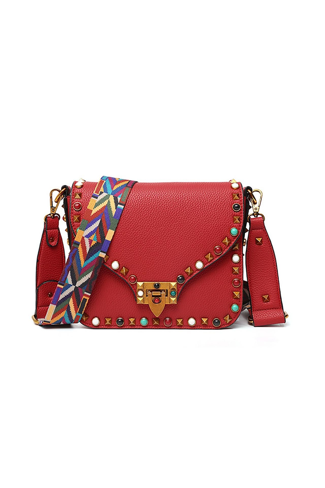 Fashion Pickle Studded Red Bag - Main Image