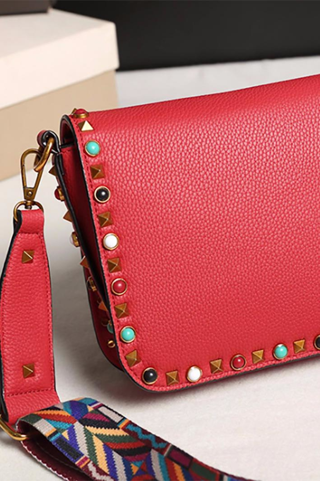 Fashion Pickle Studded Red Bag - Front Full Image