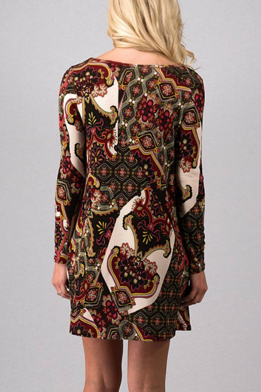 Fashion Queen  Print Detailed Dress - Front Full Image