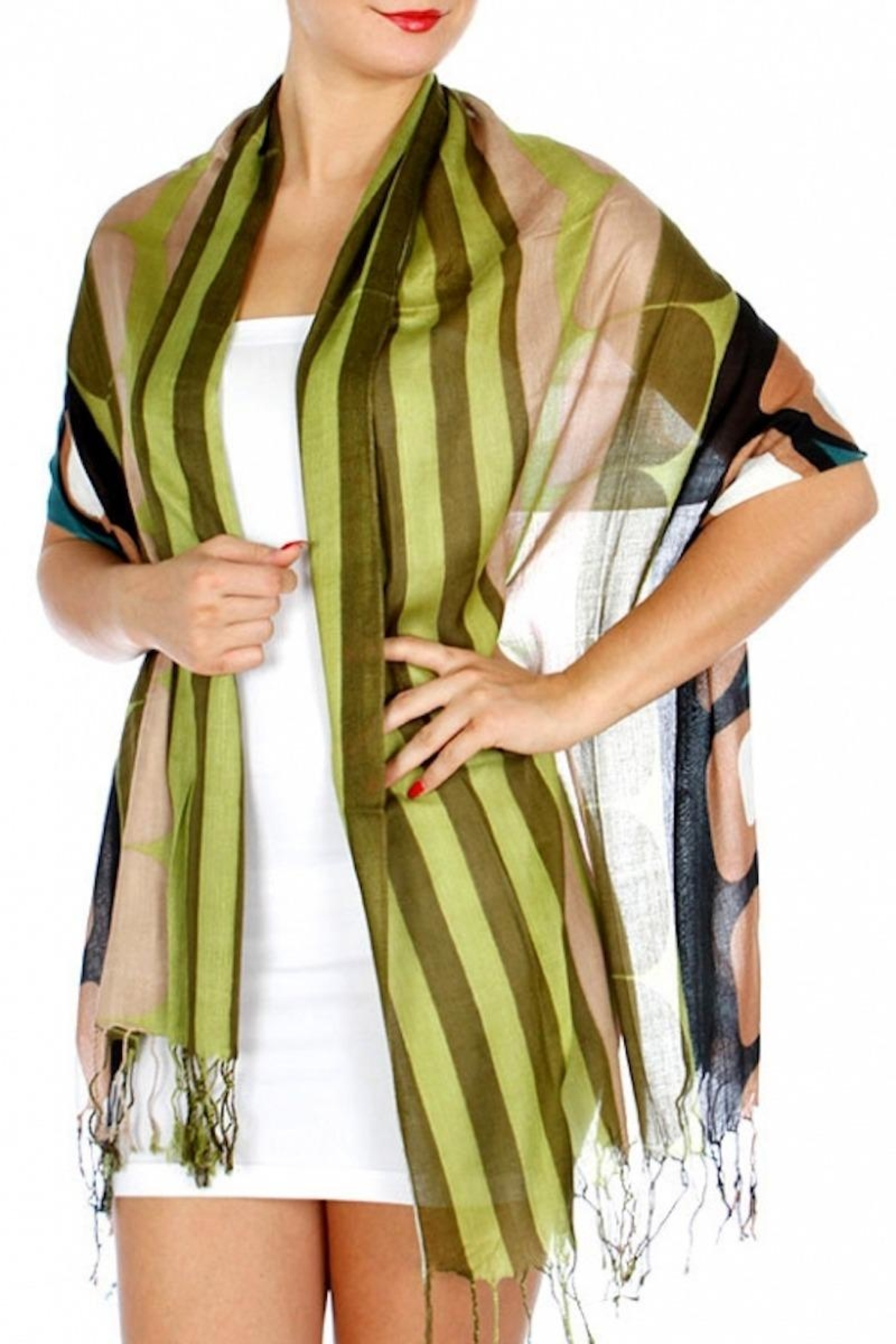 Fashion Unic Circles And Stripes Scarf - Front Cropped Image