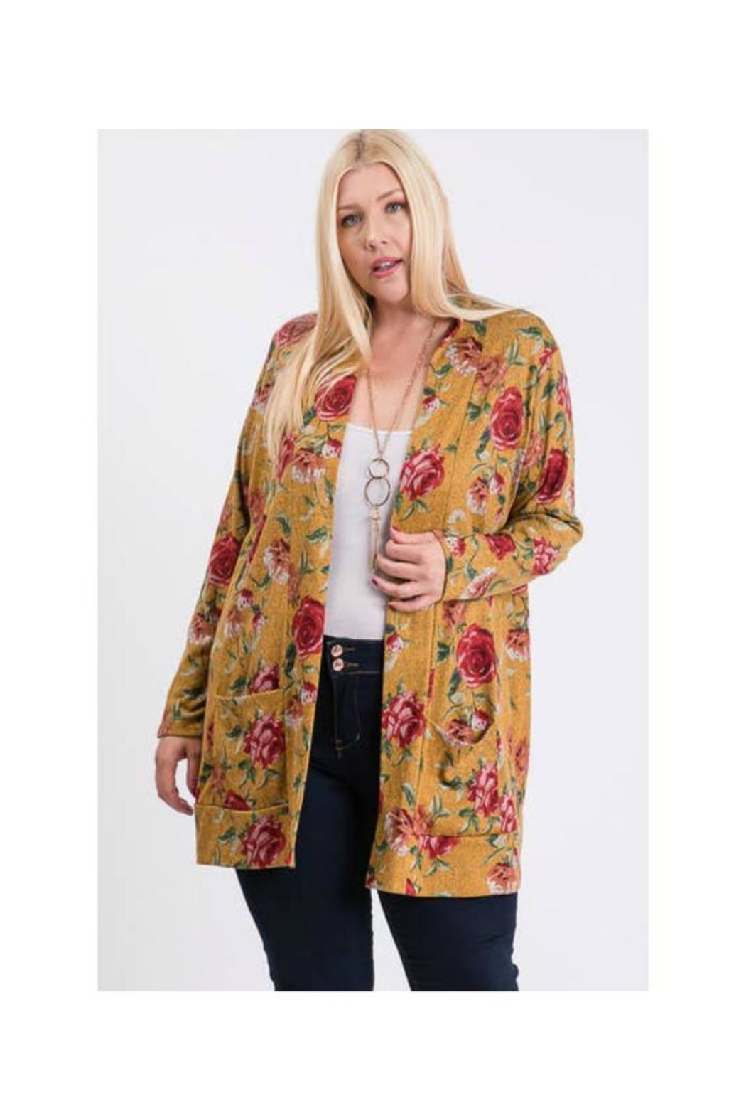 FASHIONgo.net Floral Print Cardigan - Front Full Image