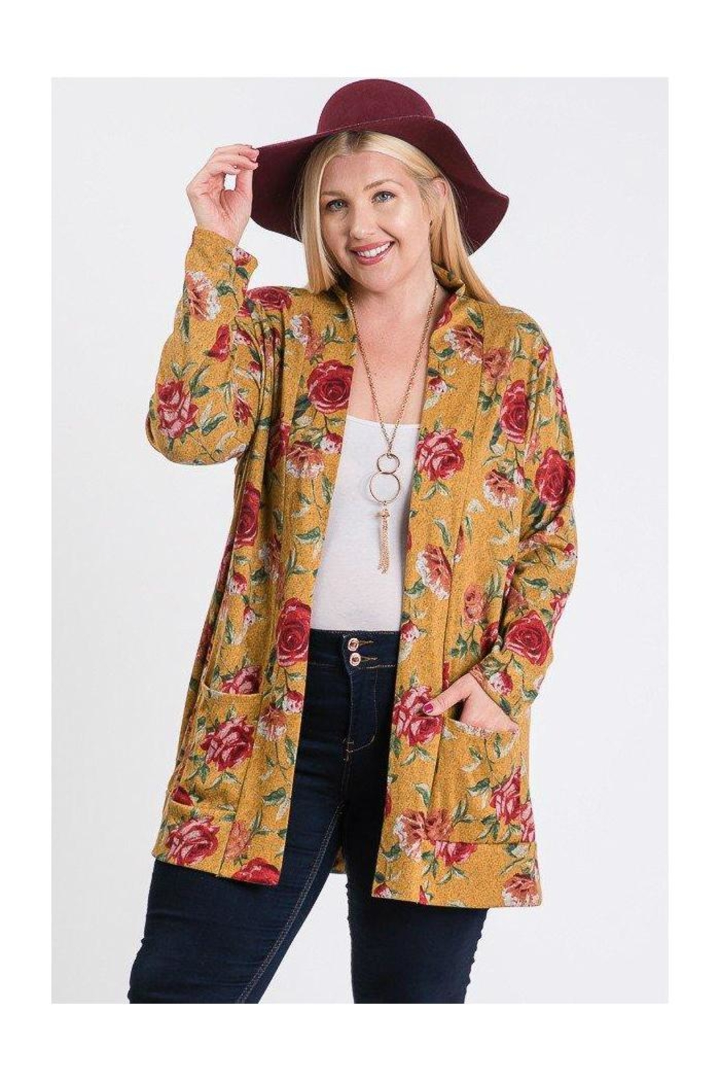 FASHIONgo.net Floral Print Cardigan - Front Cropped Image