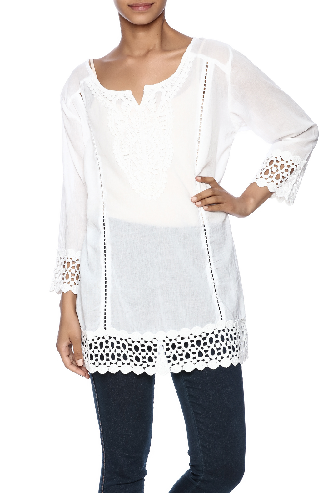Fashque Gorgeous White Blouse From Florida By Ocean Bri Shoptiques Fash Black Front Cropped Image