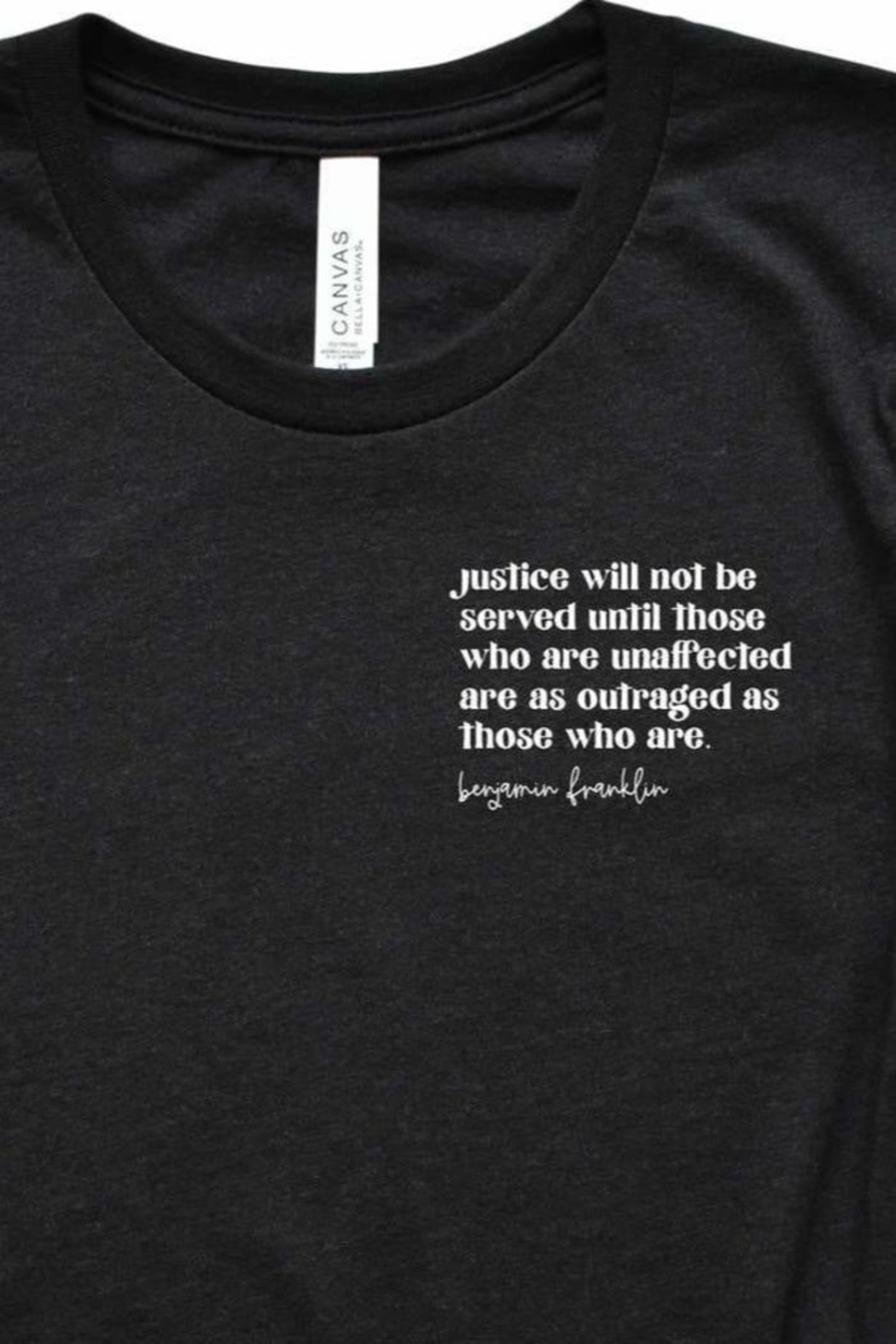 Fason De Viv Justice Will Not Be Served Pocket Style Tee - Front Full Image
