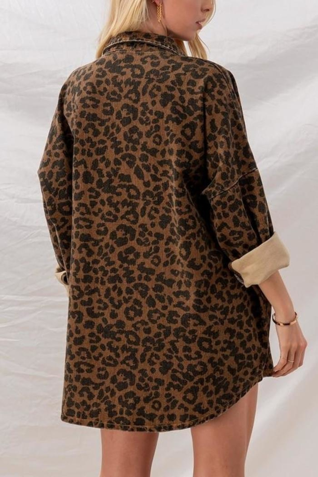 Fason De Viv Leopard Denim Jacket - Side Cropped Image