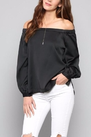 Fate Black Satin Top - Front cropped