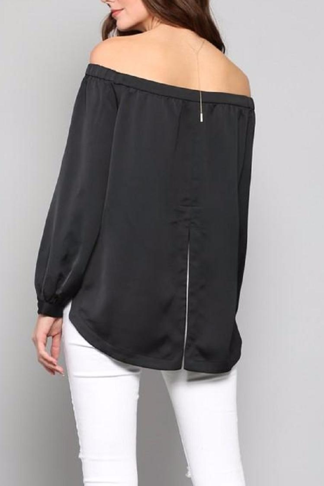 Fate Black Satin Top - Side Cropped Image