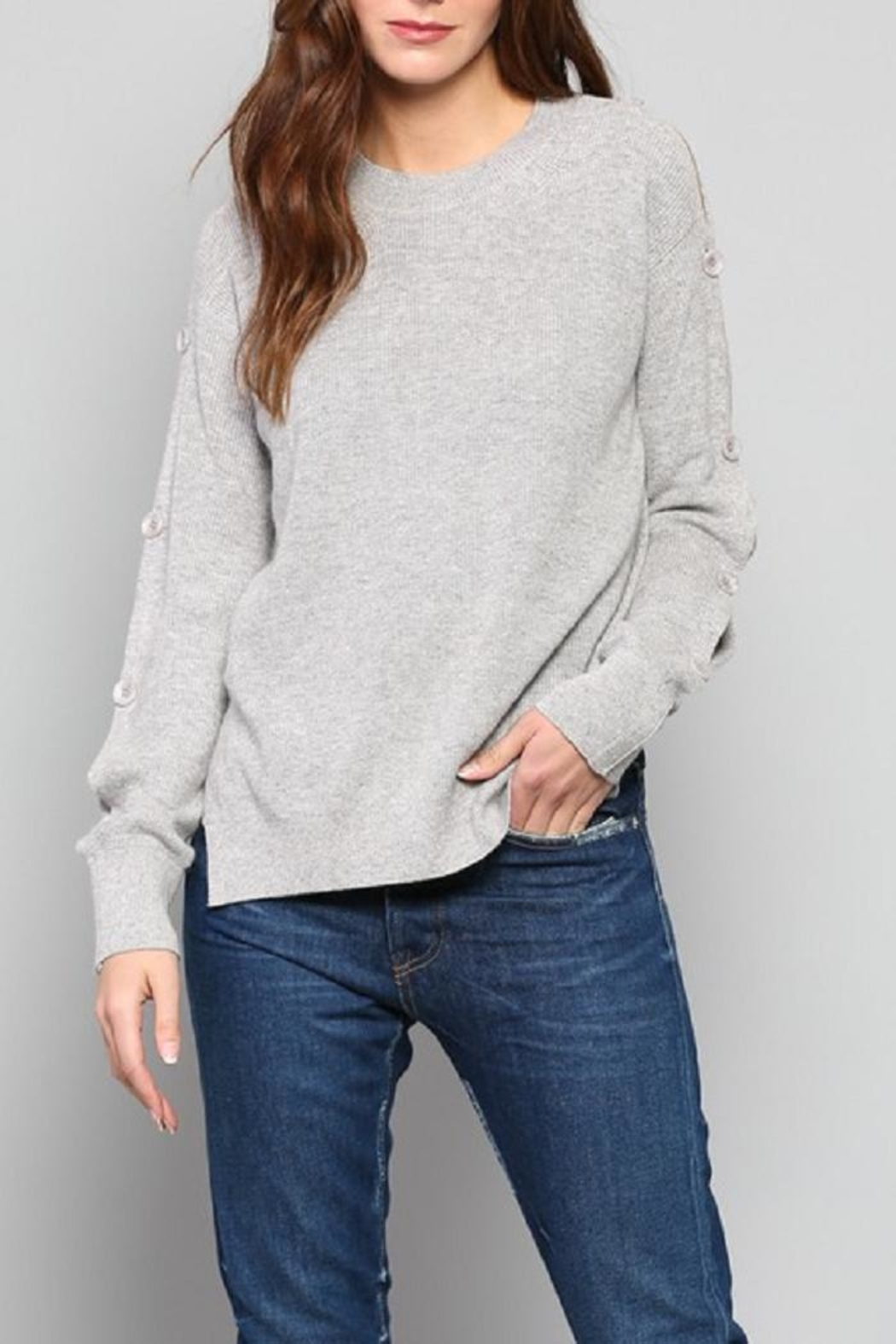 Fate Button Sleeve Sweater - Side Cropped Image
