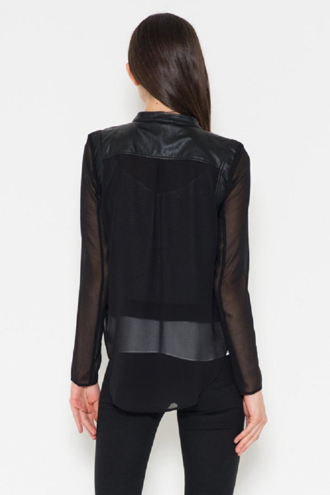 Fate Chiffon Leather Jacket - Side Cropped Image
