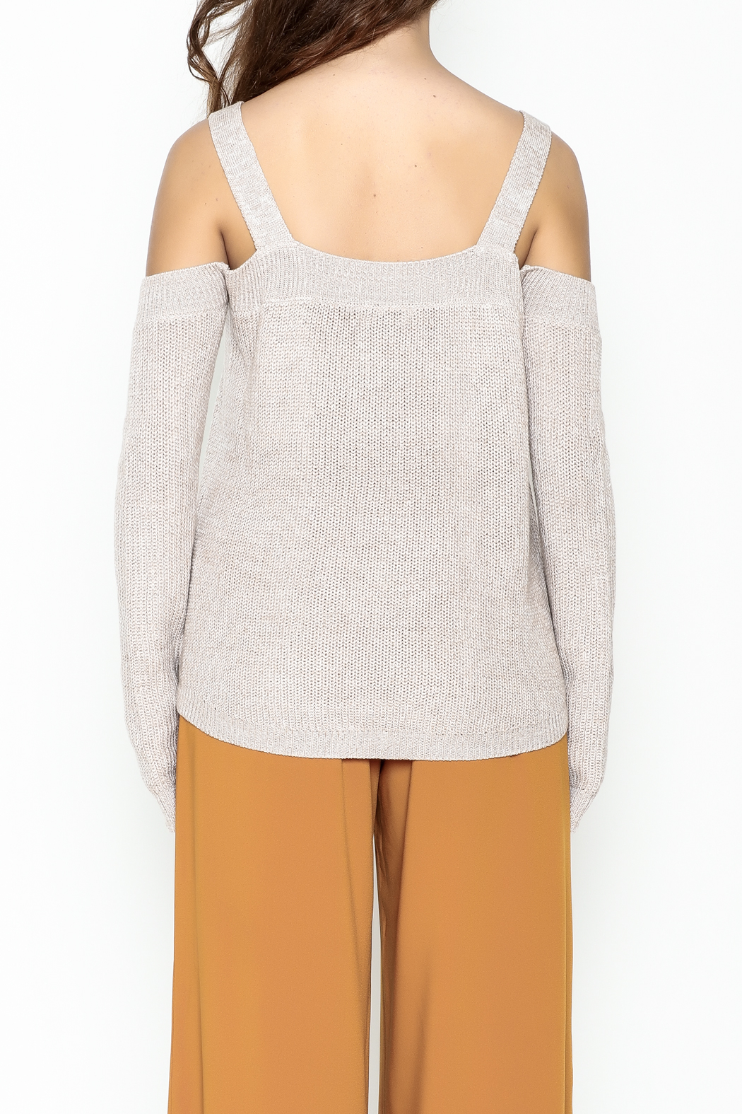 Fate Cold Shoulder Sweater - Back Cropped Image
