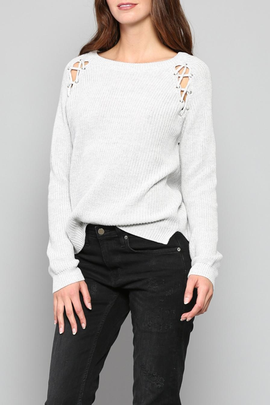 Fate Eyelet Shoulder Sweater - Main Image
