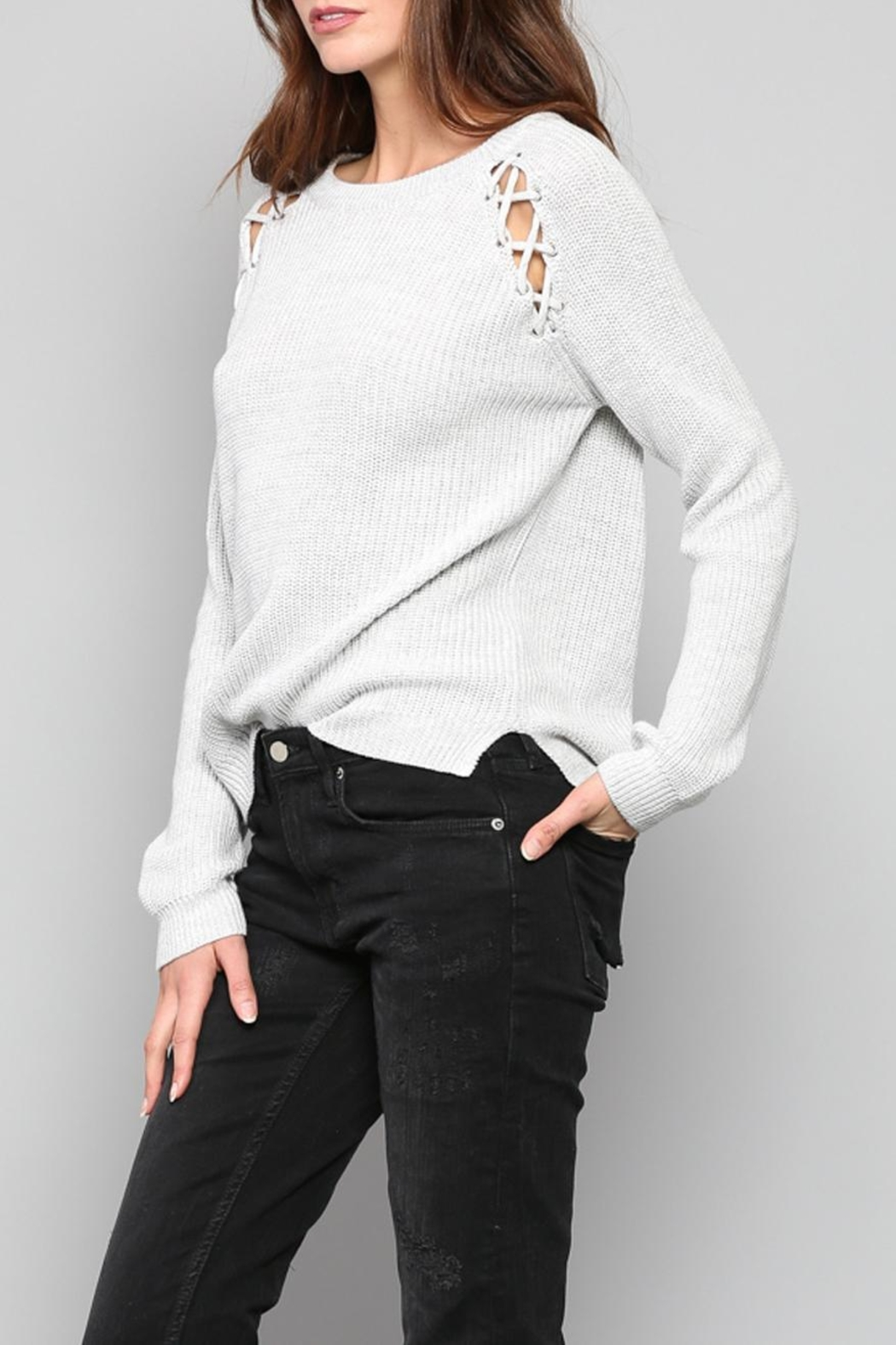 Fate Eyelet Shoulder Sweater - Front Full Image