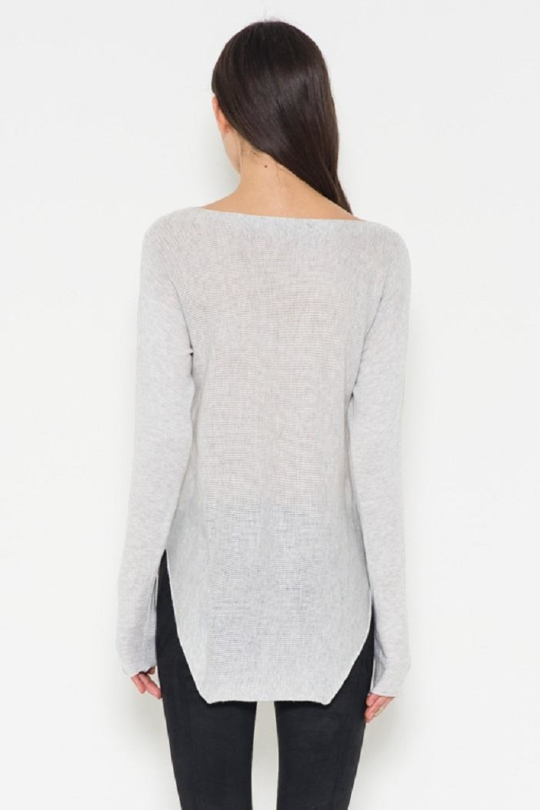 Fate Grey Pullover Sweater - Back Cropped Image