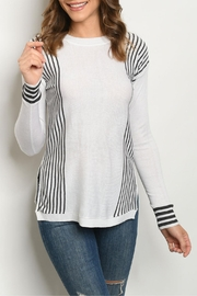 Fate Ivory Charcoal-Striped Sweater - Product Mini Image