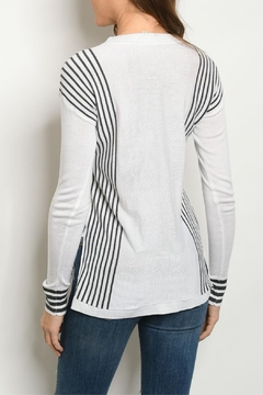 Fate Ivory Charcoal-Striped Sweater - Alternate List Image