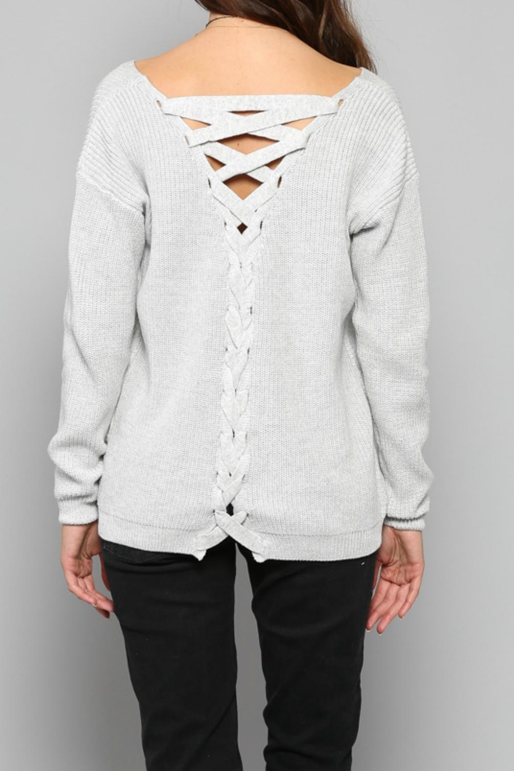 Fate Lace Up Sweater - Side Cropped Image