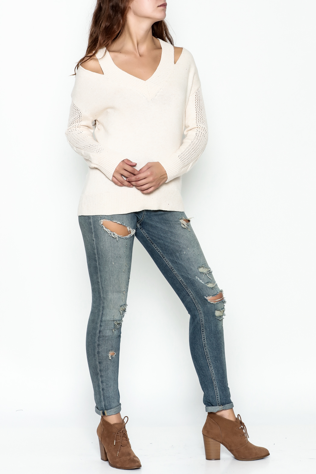 Fate Pullover V Neck Sweater - Side Cropped Image