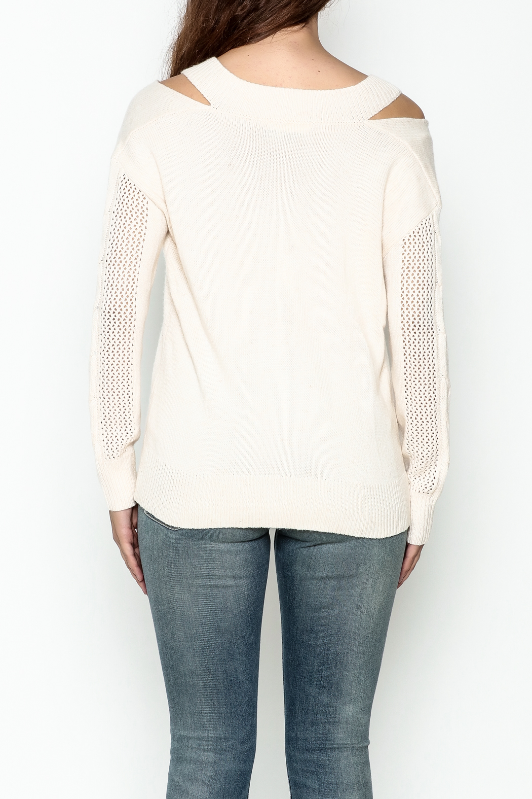 Fate Pullover V Neck Sweater - Back Cropped Image