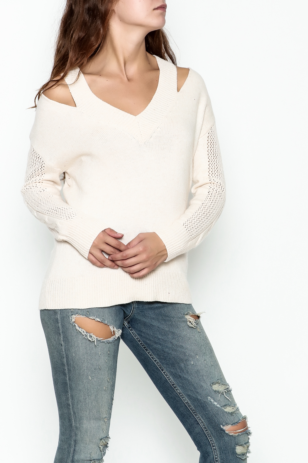 Fate Pullover V Neck Sweater - Front Cropped Image