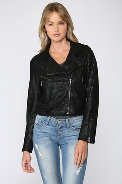 Fate Python Print Faux Suede Moto Jacket - Product List Image