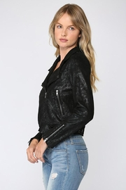 Fate Python Print Faux Suede Moto Jacket - Front full body