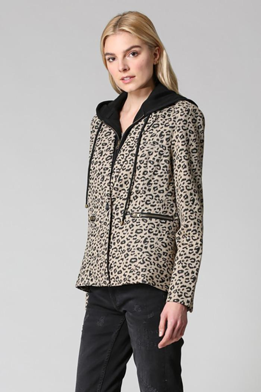 Fate Washed Cotton Leopard Blazer Detachable Hood - Back Cropped Image