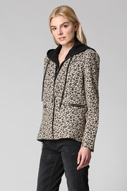 Fate Washed Cotton Leopard Blazer Detachable Hood - Back cropped