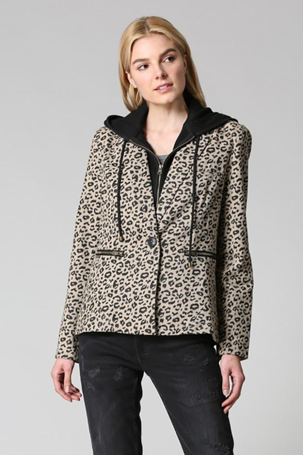Fate Washed Cotton Leopard Blazer Detachable Hood - Front Cropped Image